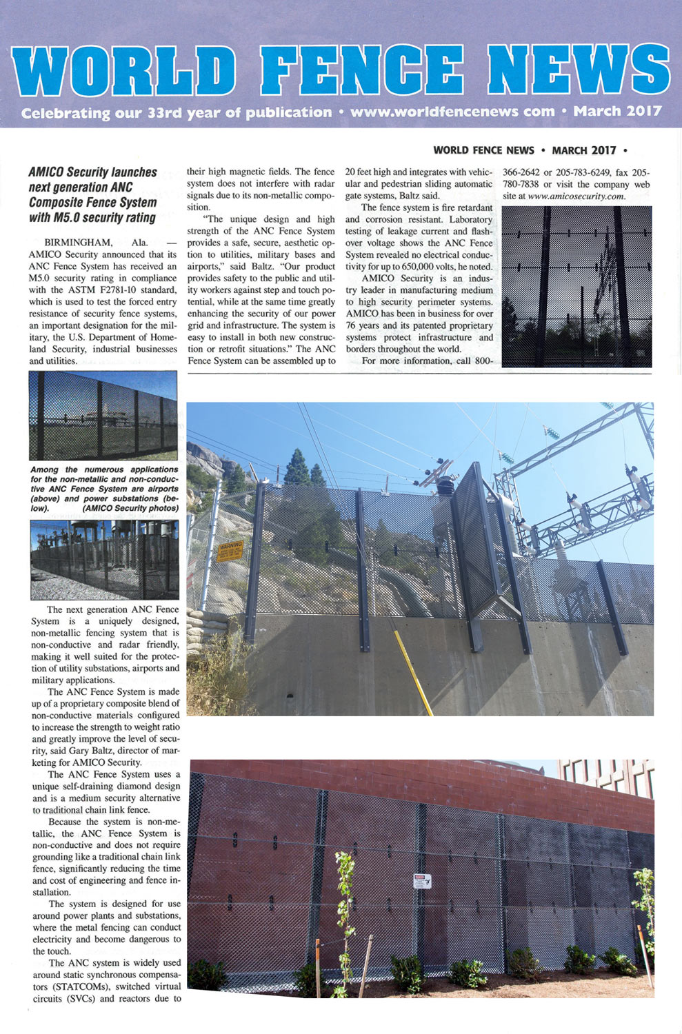 World Fence News Features AMICO Security and Composite Fence System
